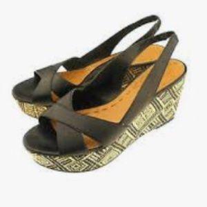 Tahari Alyssa Black Leather Wedge Sandal